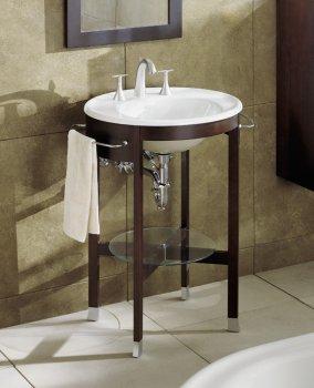 Kohler Pedestal Sink Towel Bar : Kohler Iron works. I like the side towel bars and small shelf ...