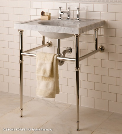 A vintage style from Stone Forest  I think you could put this in a very Small bath vanities In Detail Interiors