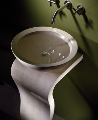 This pedestal and sink from Stone Forest comes in 3 different stones. This is my favorite.