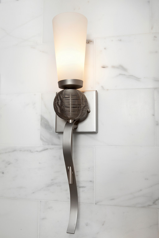 This Forecast light is affordable and striking against the calcutta gold marble!
