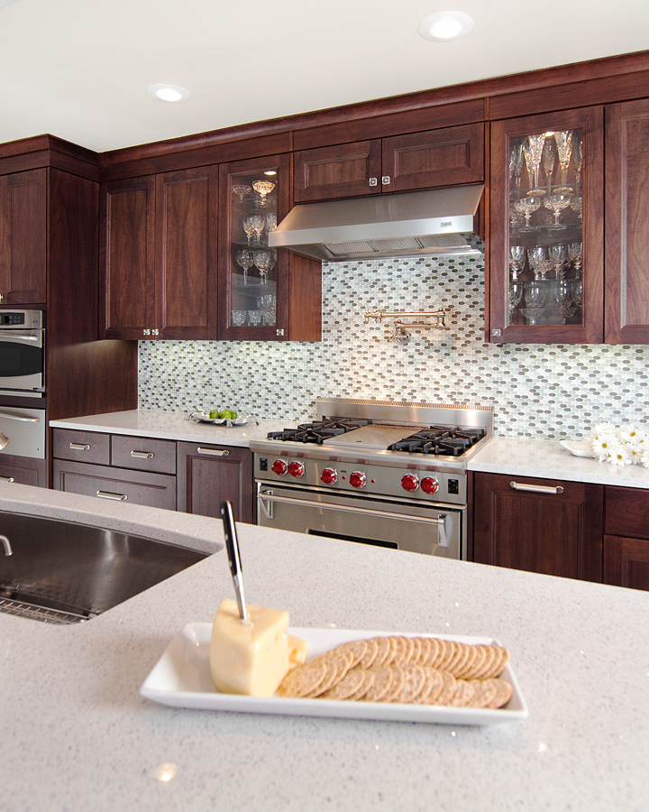 """Great tile backsplash with ceasarstone """"quartz reflections"""" countertops"""