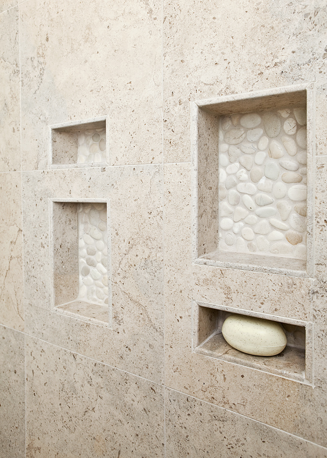 limestone on walls in this bath it is small and does not need funky borders or anything to dress it up the pebbles in the back of niches provide some - Kitchen And Bathroom Designer Jobs