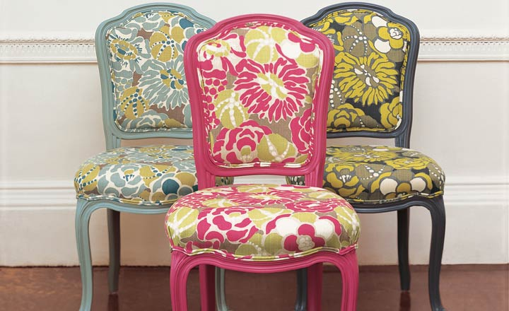 brightly colored fabric chairs