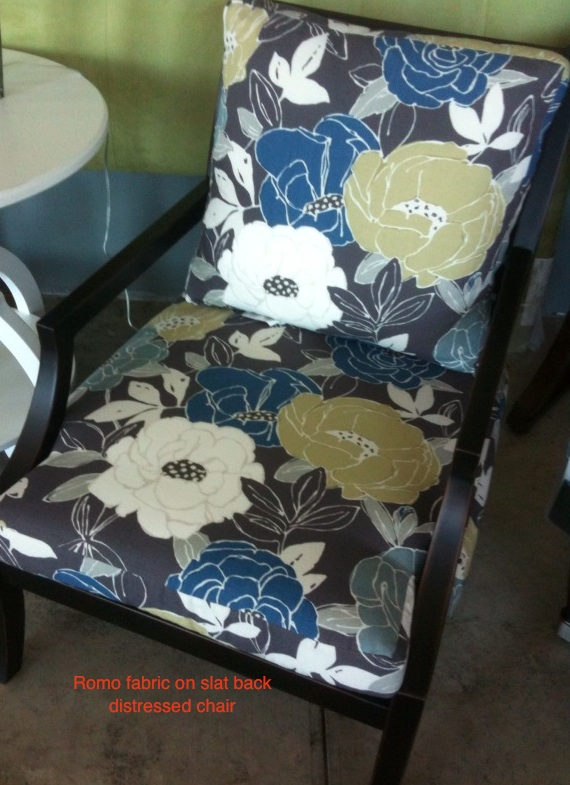 romo fabric on slat back chair