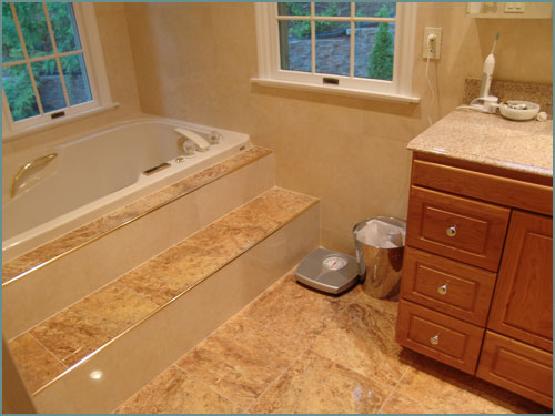 Steps Are A Hazard To Getting Into Soaking Tub Unless You Have Palatial Bath With Stairs That Run The Length Of Room Sits On Dais