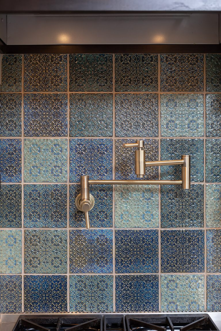 tile backsplash green and blue