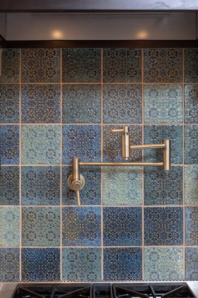 tile backsplash green and blue