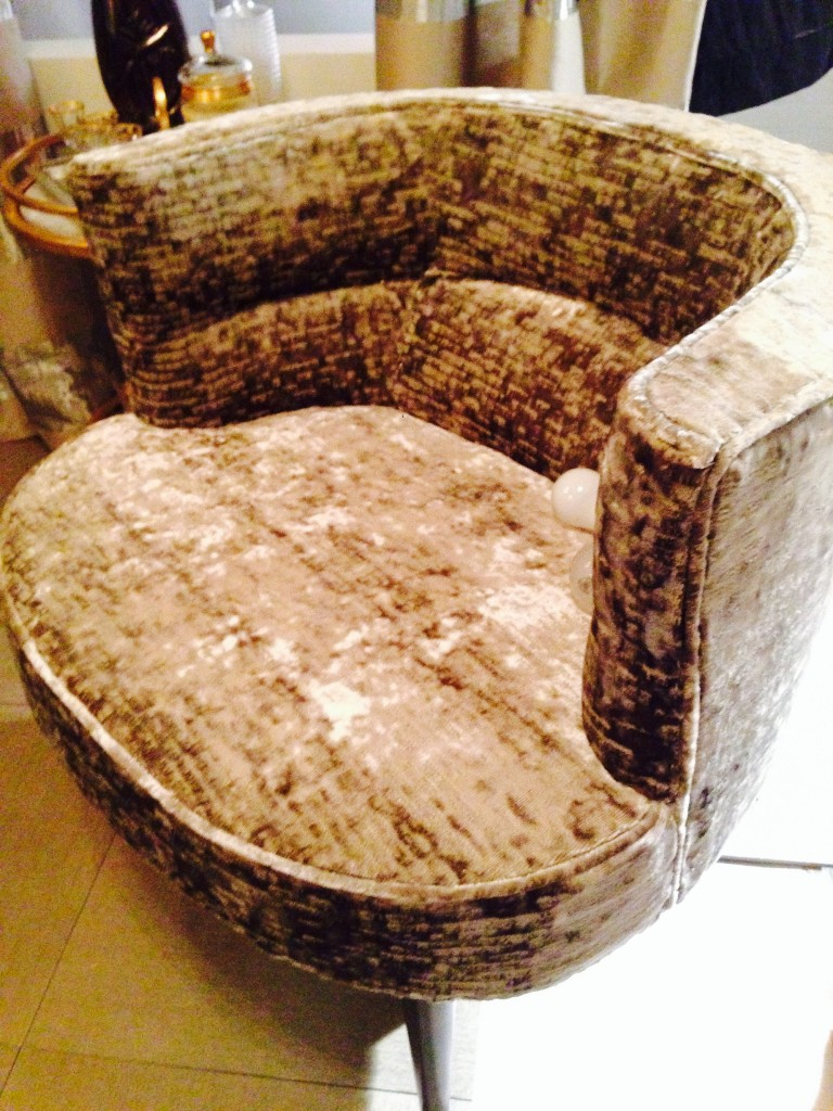 Velvet Romo chair...Cheryl loves a tuffet or chair in a bath when possible. This one was amazingly put together with pins!