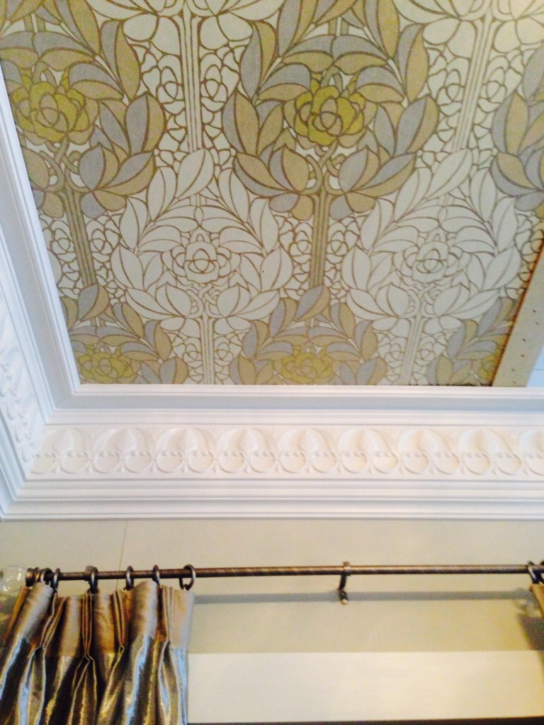 My favorite details...the crown and Omexco wallpaper on the ceiling!