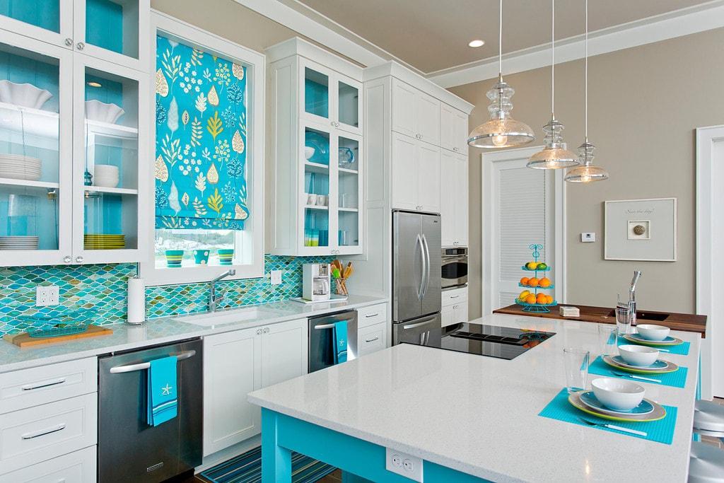 bright kitchen interior teal tile backsplash glass pendant lights cool window treatment