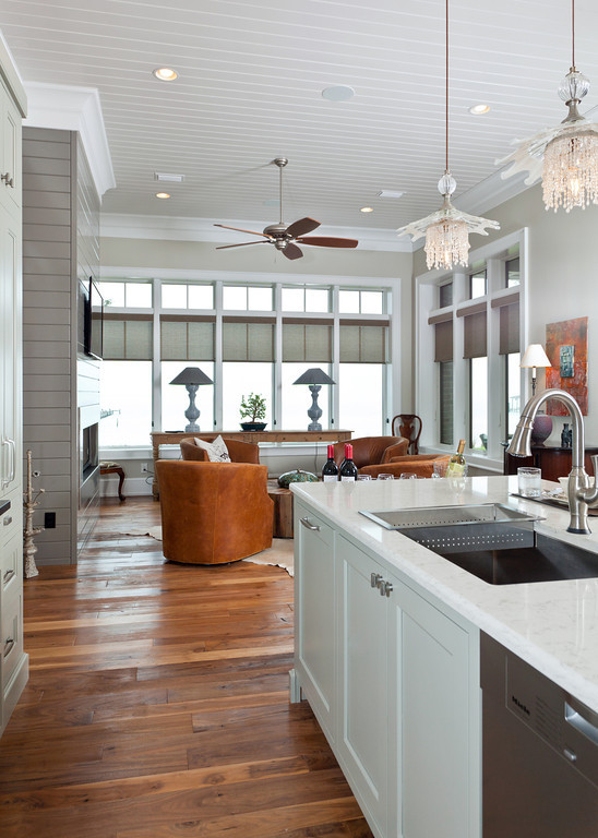 open kitchen crytal pandant lights white kitchen cabinets and countertop