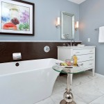 Master bathroom remodel within a small space with clean lines, blue, white, and brown