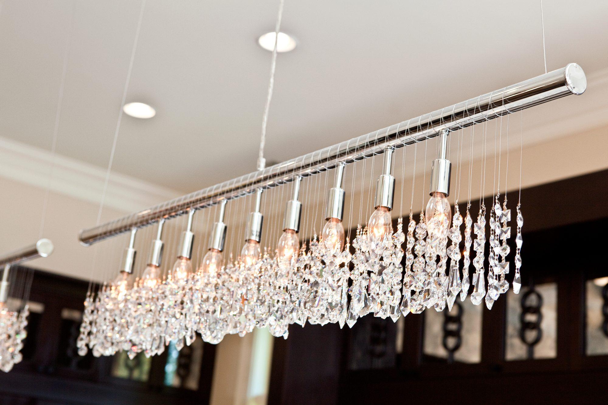 crystal hanging with polished nickel bar