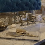 Featured designer DXV design panel 2014, bathroom with shared tub, shower, and steam room component, bar cart, gold ,and blue