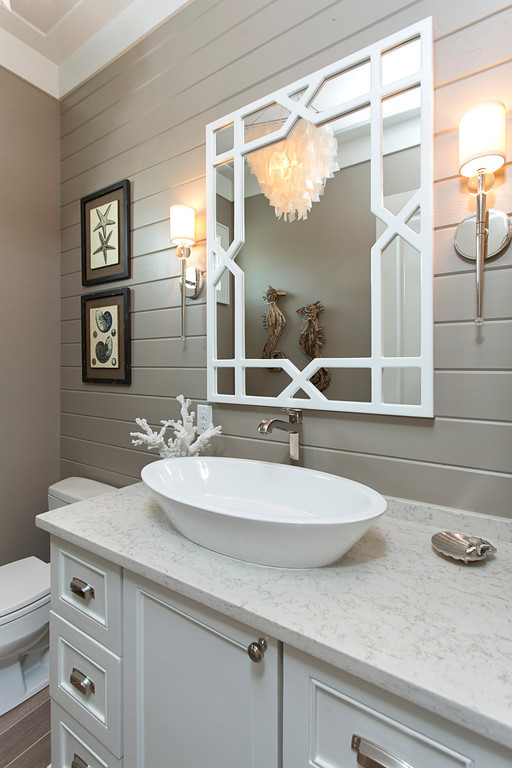 New construction powder bath with neutral colors