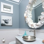 Coastal new construction blue and white powder bath