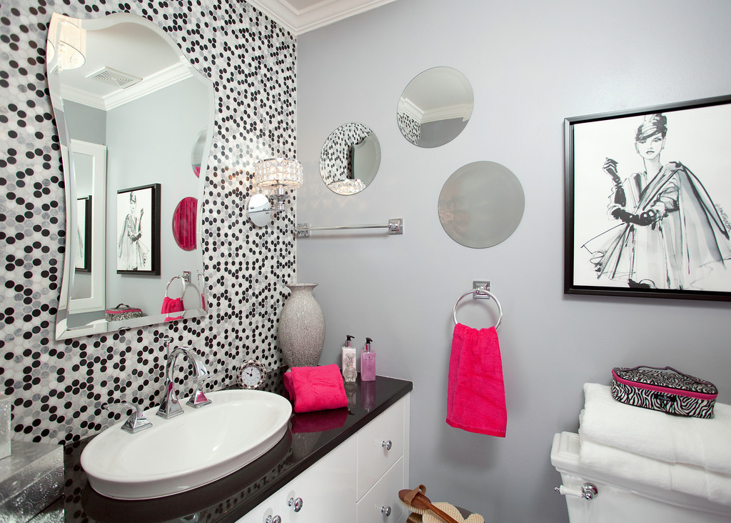 Pretty In Pink Girls Bathroom Remodel In Detail Interiors - Girls bathroom decor for small bathroom ideas