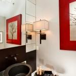 NKBA winner 2010: powder bathroom, red, light fixture