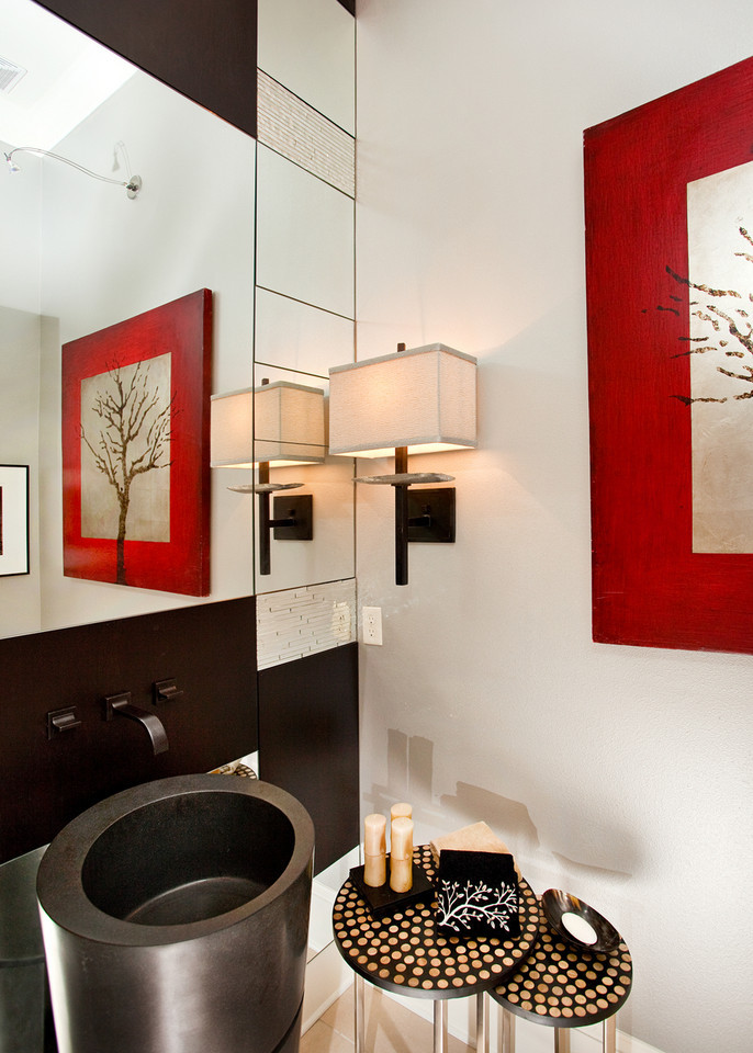 NKBA winner 2010: powder bathroom, red, light fixture