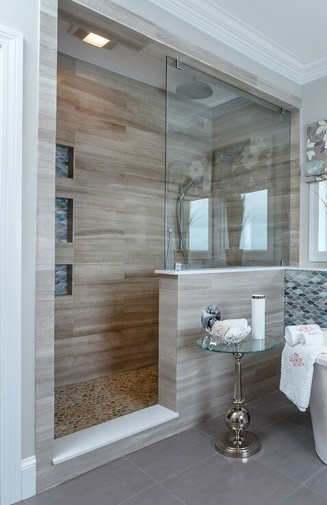 Stone tile, Glass wall, mosaic tile wall, roman shade, shower niche