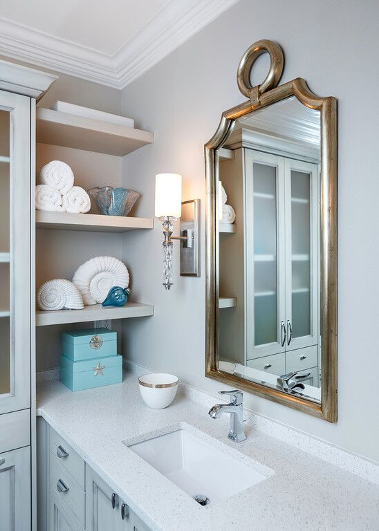 grey cabinets, vanity, undermount sink, mirror, sconce, chrome faucet