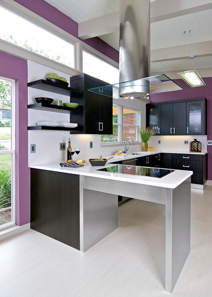 East Hill kitchen remodel: purple. colorful, sleek, modern, mid century modern