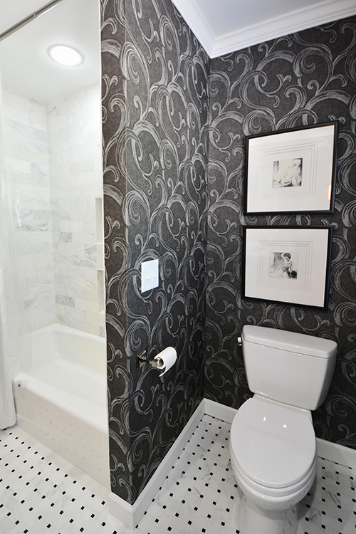 Small, but functional black and white bath remodel