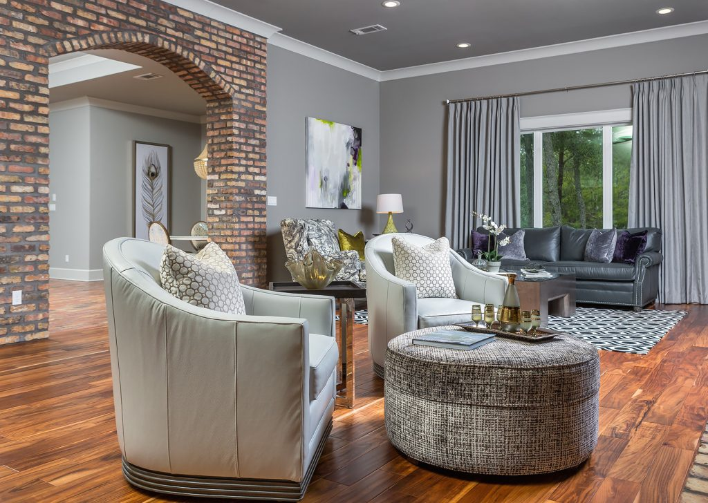 living room, swivel chairs, newly constructed, traditional living, casual yet sophisticated, living space, custom home