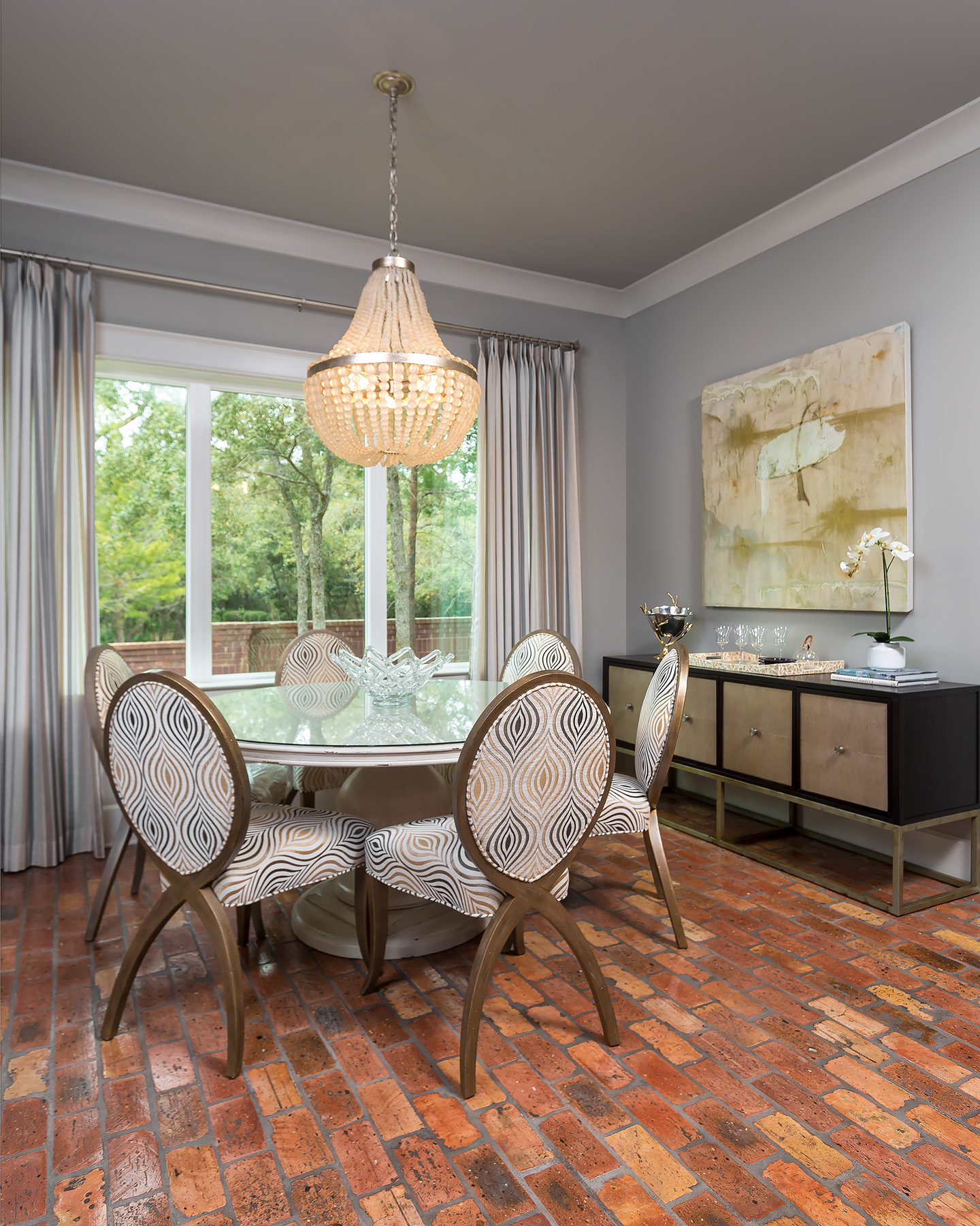 dining room, brick flooring, newly constructed, traditional living, casual yet sophisticated, living space, custom home