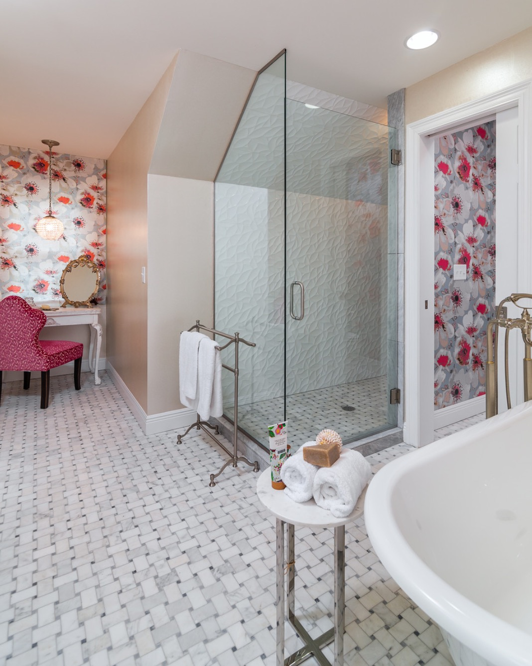 Beautiful girl's bathroom remodel with large walk in glass shower