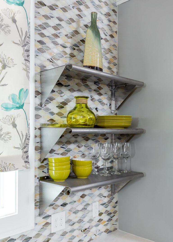 open kitchen metal shelves with tile backsplash window treatment