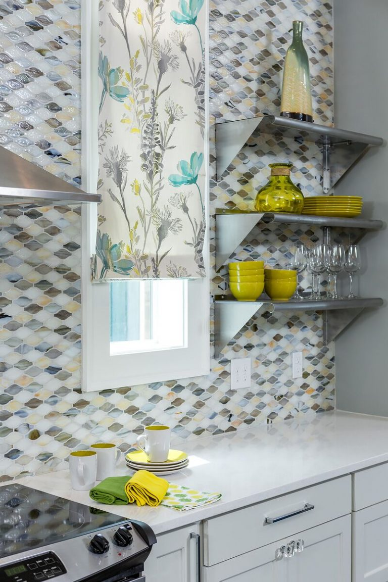 2016 NKBA Budget Kitchen Winner - Gulf Shores Project: coastal duplex, new construction, blue and yellow, floating shelves, tile back splash,