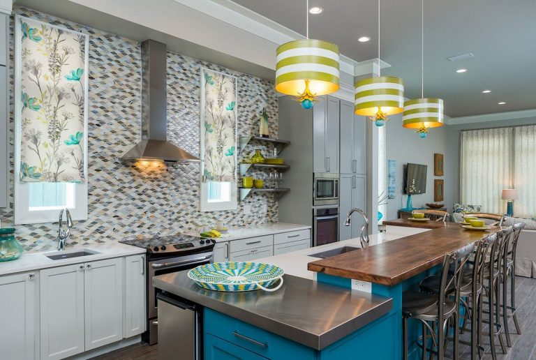 2016 NKBA Budget Kitchen Winner - Gulf Shores Project: coastal duplex, new construction, blue and yellow, kitchen island, floating shelves, tile back splash, pendant lighting
