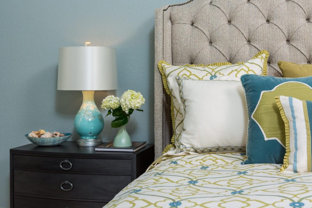 Coastal remodel, bedroom, blue and green, sand tones, tufted headboard