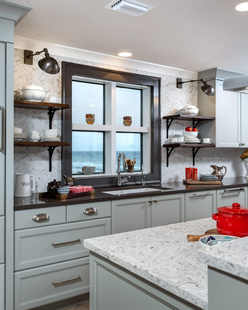 Penthouse Suites Re-Imagined: Unique Remodel: floating shelves, two toned counters, grey cabinets