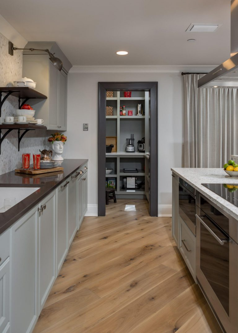 Penthouse Suites Re-Imagined: Unique Remodel: two toned counters, grey cabinets, floating shelves, walk-in pantry