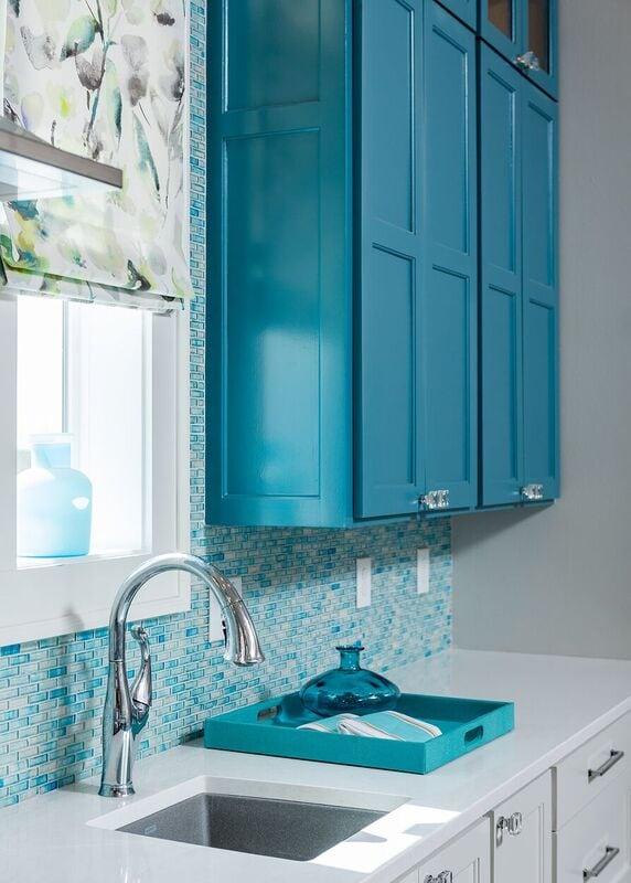 Townhouse duplex new construction in coastal community: blue and white, tile back splash