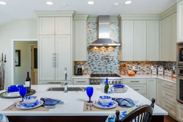 Kitchen remodel, two toned cabinets, kitchen island, gourmet kitchen, blue and white, tile back splash