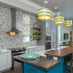 coastal kitchen with color