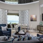 Living space for a busy family, living room, dining area, greys, blues, and sand tones