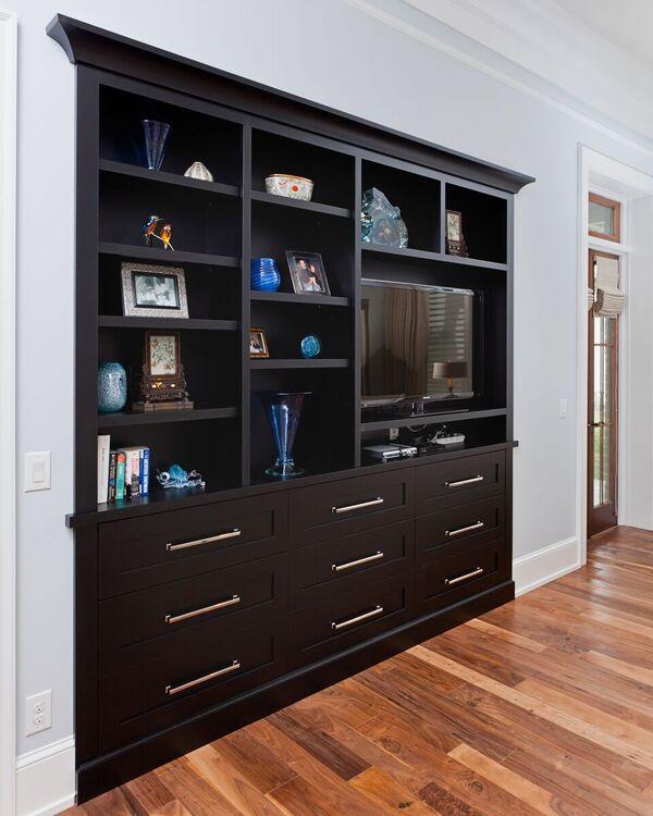 custom built-in shelves and drawers hardwood flooring