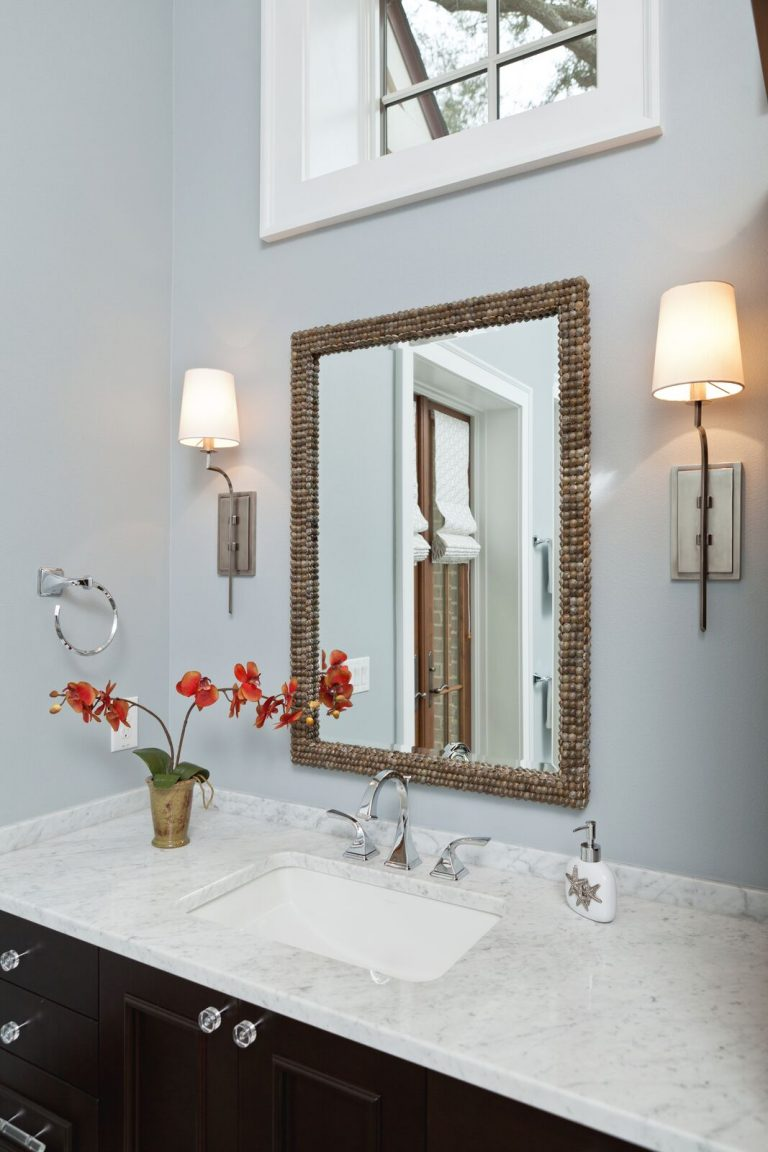 Organic master bath: new construction, blue and white, dark vanity with light counter top, light fixtures