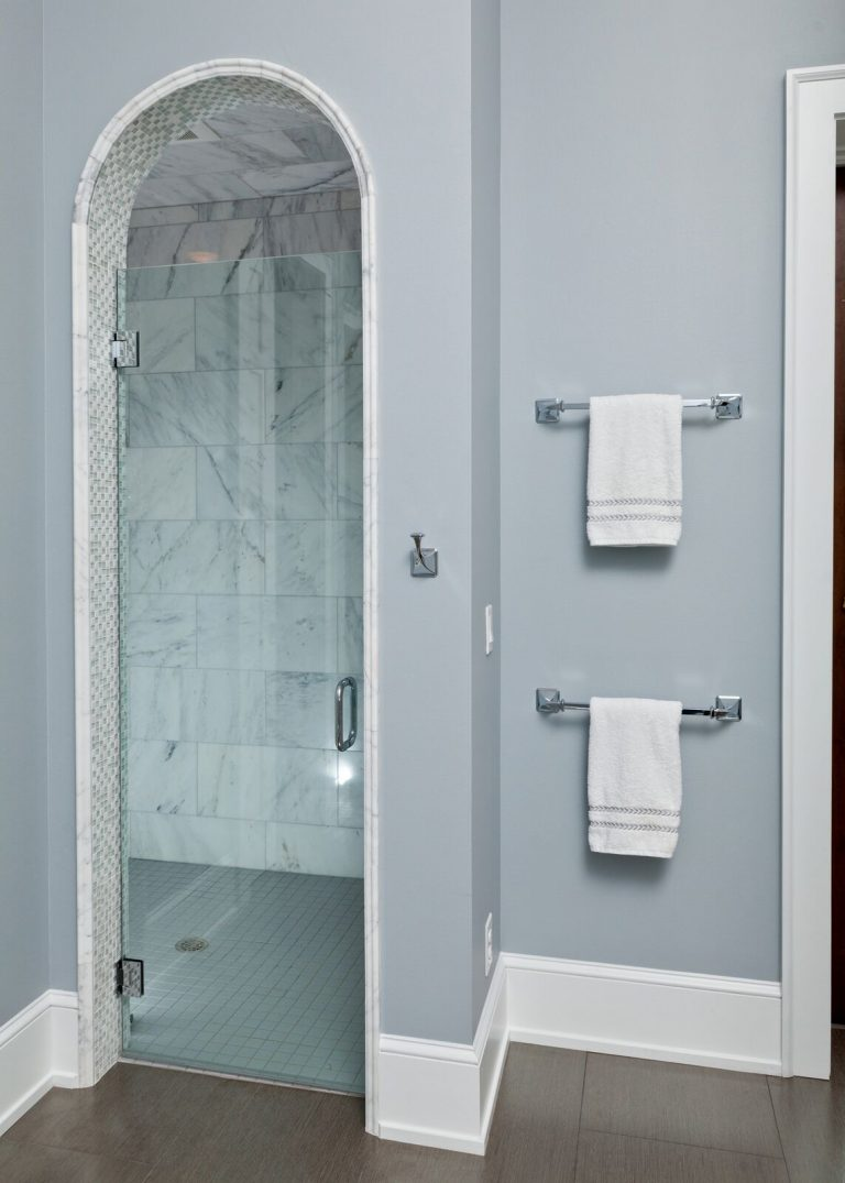 Organic master bah: new construction, blue and white, walk in shower