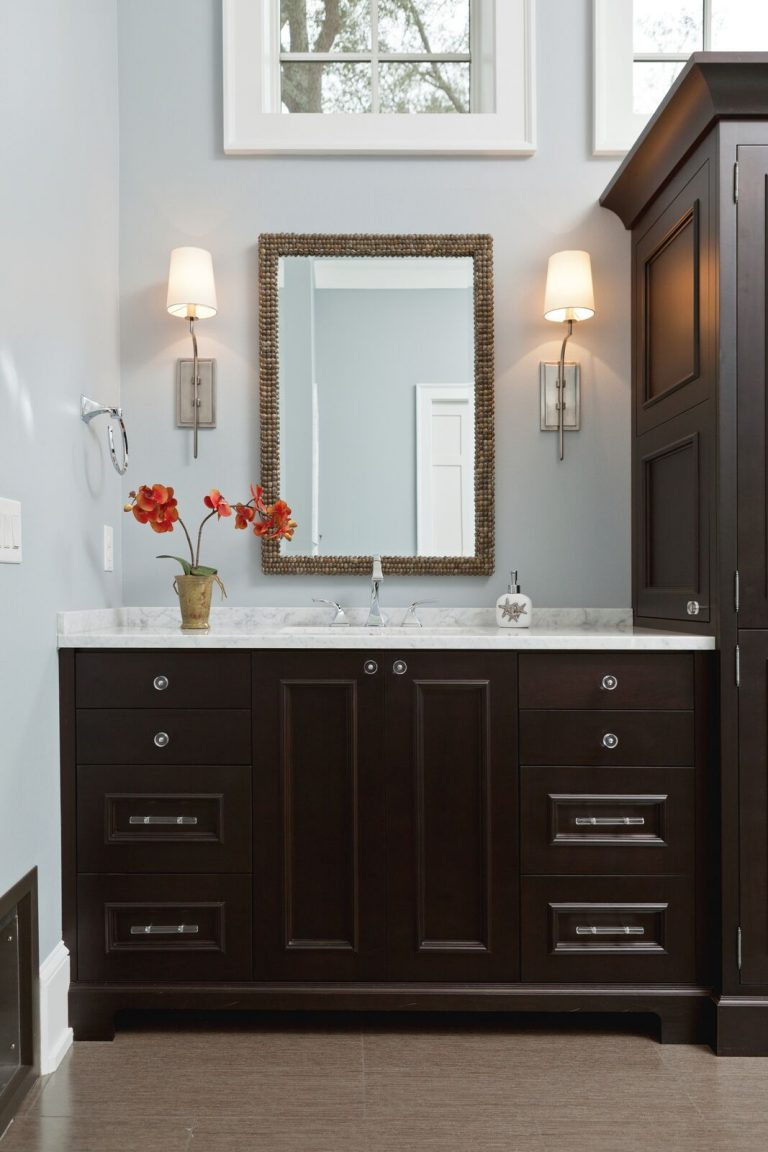 Organic master bath: new construction, blue and white, dark vanity, light counter top, light fixtures