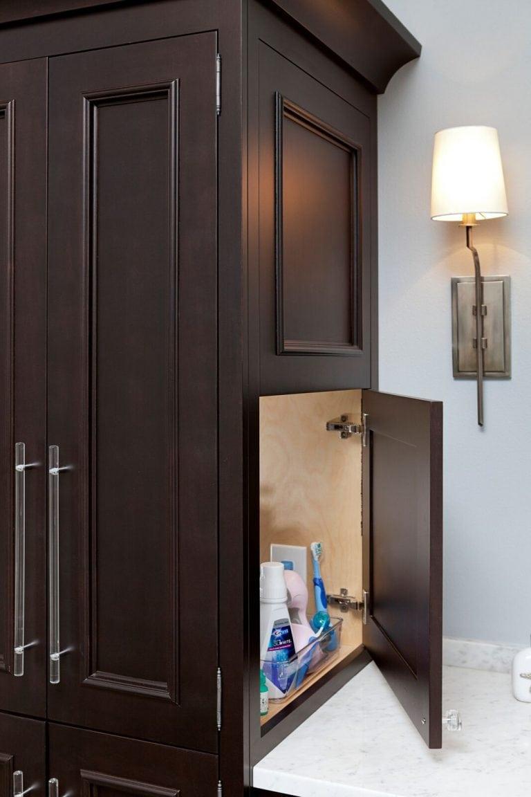 Organic master bath: new construction, blue and white, dark vanity, vanity cabinets