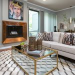 copper fireplace in living