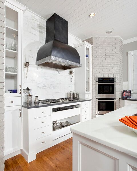 classic kitchen remodel, white kitchen, modern touches, cambria quartz, custom hood, cold rolled steel