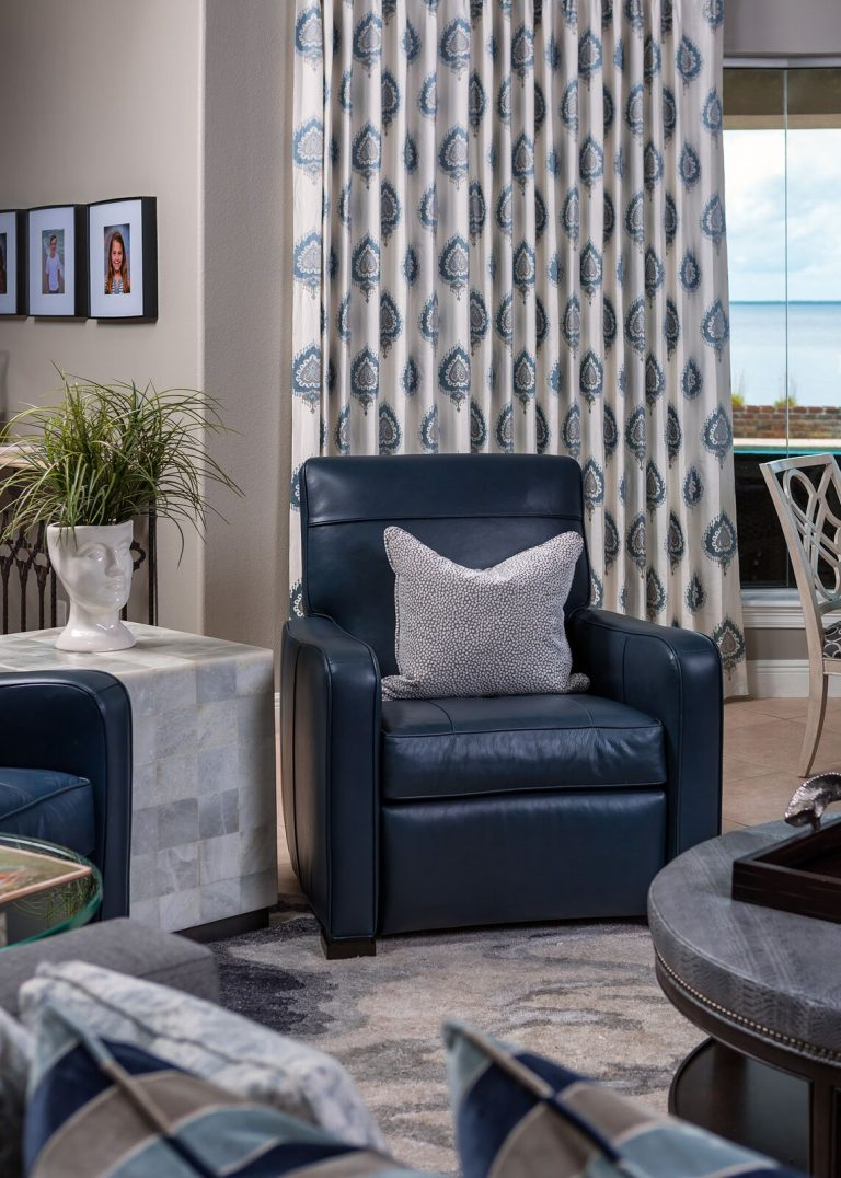 Living space for a busy family, greys, blues, and sand tones