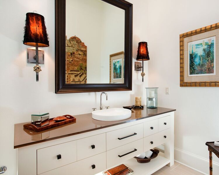 Guest Bathroom: Bayou New Construction: vanity, sink, mirror, neutral colors, light fixtures