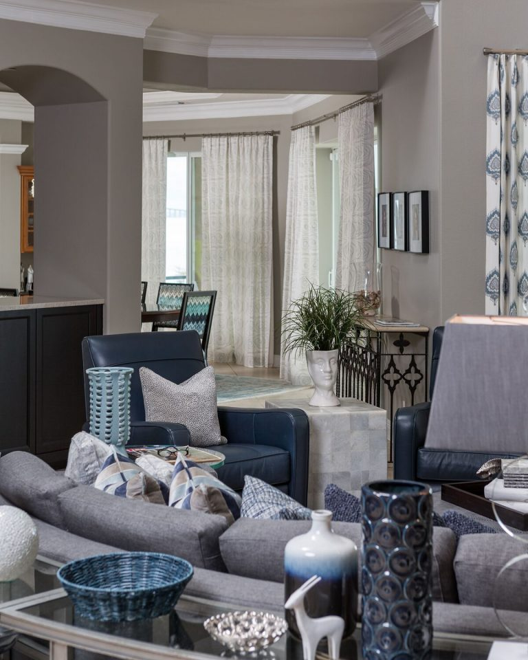 Living space for a busy family: blues, greys, and sand tones